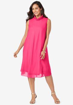 Georgette Mock Neck Dress,