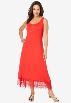 Crochet High-Low Jersey Dress,