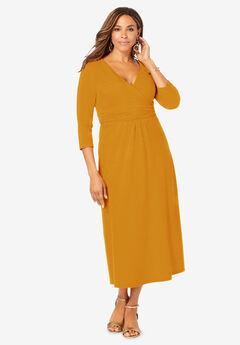 Knit Surplice Midi Dress,