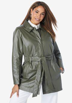 Cinched Waist Leather Jacket,
