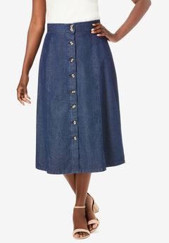 Button-Front Jean Skirt,