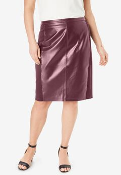 Leather and Ponte Knit Skirt,
