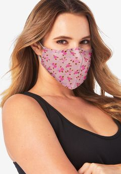 Women's Two-Layer Reusable Face Mask, PINK FLORAL