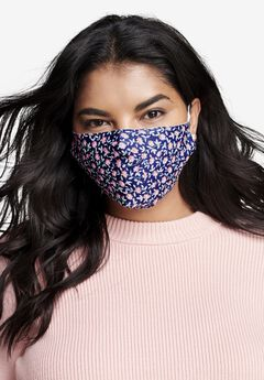 2-Layer Reusable Cotton Face Mask - Women's, NAVY DITSY FLORAL