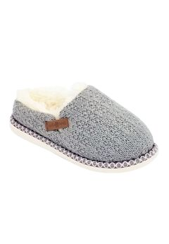 Textured Knit Clog Slipper With Fur Lining Slippers,