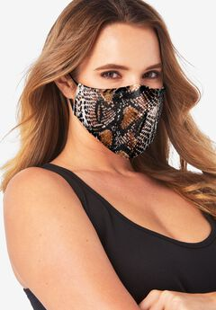 Women's Two-Layer Reusable Face Mask, BROWN SNAKE