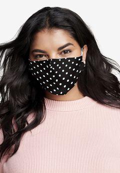 2-Layer Reusable Cotton Face Mask - Women's, BLACK POLKA DOT