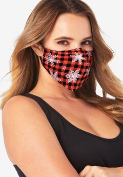 Women's Two-Layer Reusable Face Mask, PLAID SNOWFLAKES