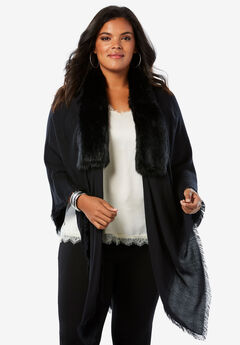 Faux Fur and Pashmina Wrap,