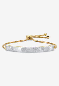 "Gold-Plated Bolo 9"" Bracelet with Diamond Accents,"