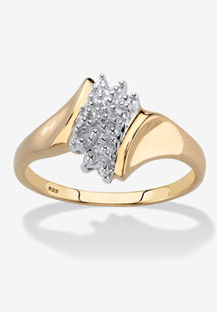 Gold & Sterling Silver Diamond Cluster Ring,