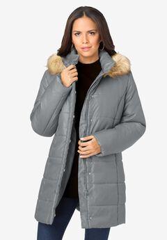 Ellos Womens Plus Size Long Puffer Coat