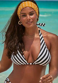 Ashley Graham Elite Triangle Bikini Top, STRIPE