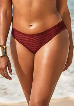 GabiFresh Knit Mesh Overlay Bikini Bottom,