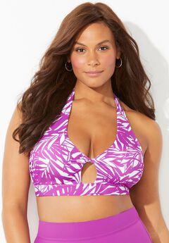 Contessa Halter Bikini Top, BEACH ROSE PALM
