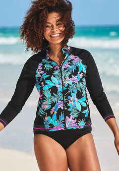 Chlorine Resistant Zip Front Long Sleeve Swim Shirt,