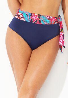 Shirred High Waist Bikini Bottom, TROPICAL