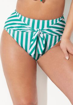 GabiFresh Tie Front Bikini Bottom, ALOE WHITE STRIPE