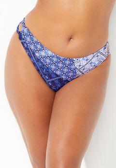 Romancer Colorblock Bikini Bottom, BLUE WHITE PATCHWORK