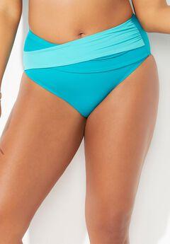 Hollywood Colorblock Wrap Bikini Bottom, HAPPY TURQ LUXE