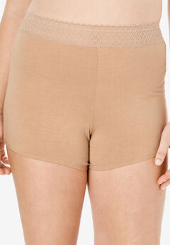 Lace Waistband Boyshort by Comfort Choice®, NUDE