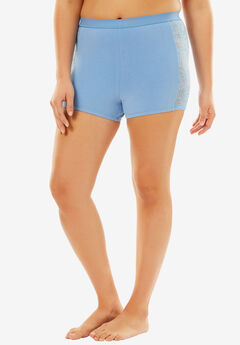Lace Trim Boyshort, FOUNTAIN BLUE