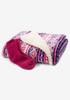 Fluffy Sock & Throw Set,