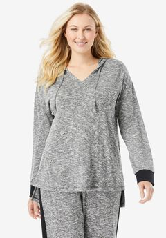 Hooded Marled Jersey Top,