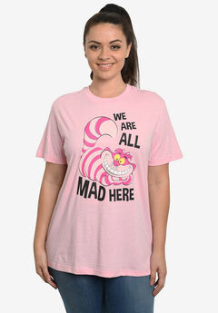 "Disney Women's Cheshire Cat Alice in Wonderland ""We Are All Mad Here"" T-Shirt Pink,"