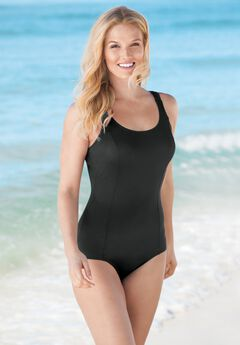 One-Piece Tank Swimsuit with Adjustable Straps , BLACK