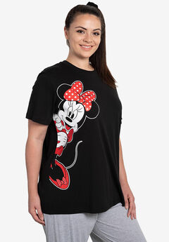 Disney Women's Minnie Mouse Leaning Short Sleeve T-Shirt Black,
