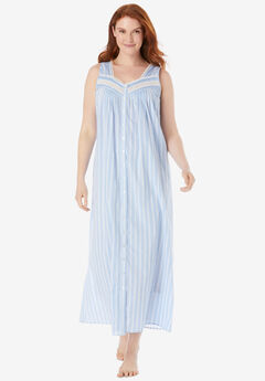 Long Sleeveless Floral Nightgown,