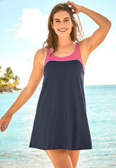 Two-Piece Colorblock Swim Dress,