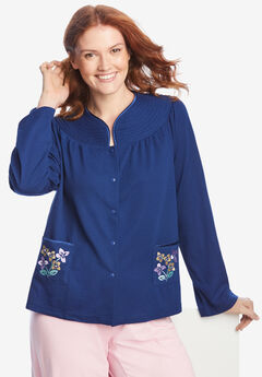 Short Waffle Knit Embroidered Bed Jacket,
