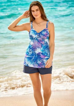Longer Length Tie-Front Tankini Top,