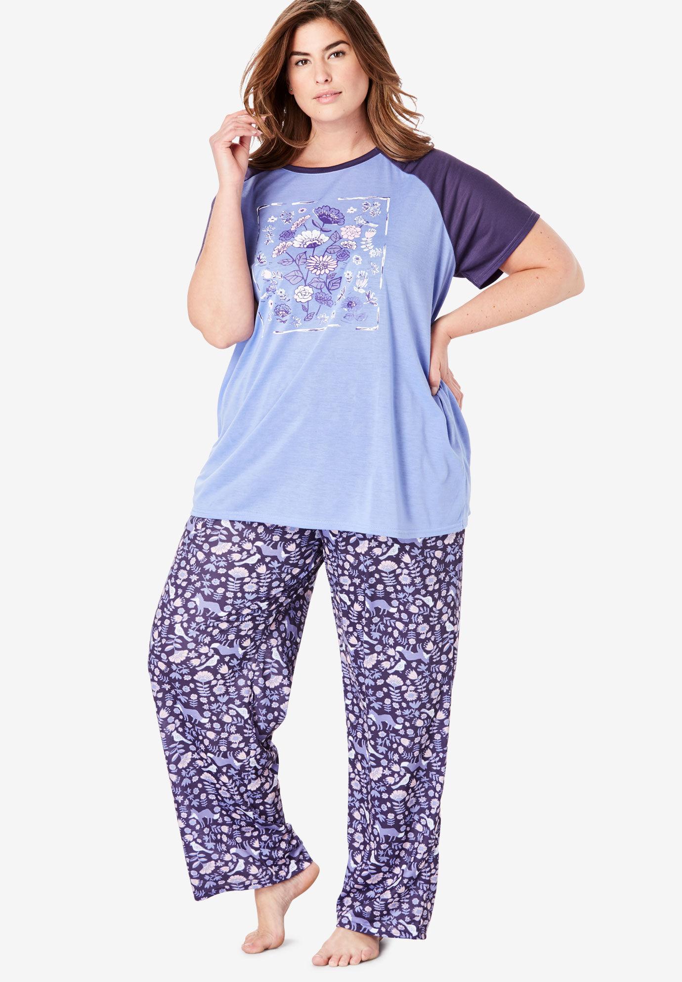 Womens Plus Size Floral Henley Pj Set Dreams /& Co