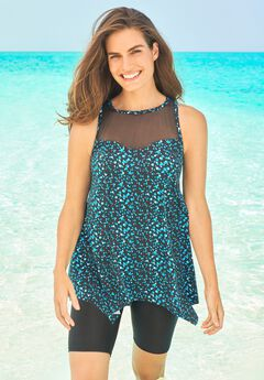 Mesh-Inset Longer Length Tankini Top,