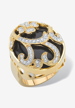 Yellow Gold-Plated Natural Black Onyx and Round Crystal Oval Ring,
