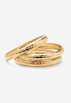 """Goldtone Hammered 3-Piece Bracelet Set (11mm), 8.5"""","""