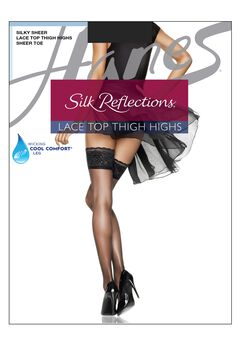 Hanes Silk Reflections Lace Top Thigh Highs,