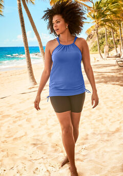 Longer Length Shirred Tankini Top,