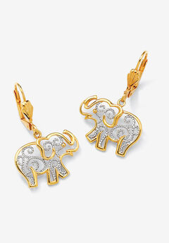 Yellow Gold-Plated Filigree Elephant Drop Earrings,