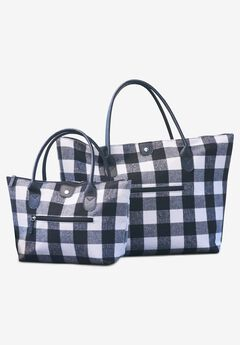 2-Piece Buffalo Plaid Bag Set,