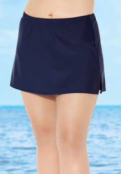 Side-Slit Swim Skirt with Built-in Brief ,
