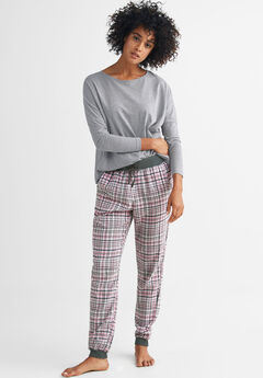 Plaid Flannel Sleep Pants, BRIGHT TULIP GREY PLAID