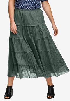 Crinkled Tiered Skirt by ellos®,