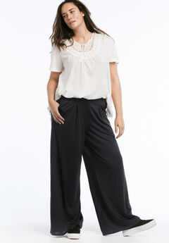 Pleated Wide Leg Knit Pants by ellos®, BLACK