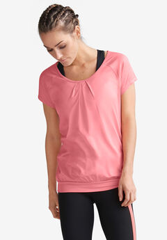 Pleated-Front Cap Sleeve Tee by ellos®, FLAMINGO PINK