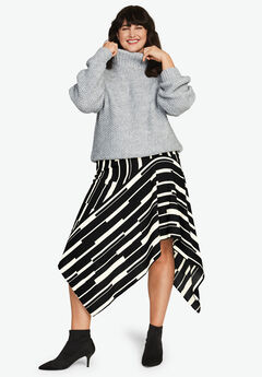 Hanky-Hem Midi Skirt by ellos®, BLACK IVORY