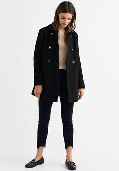 Gold Button A-line Wool-Blend Coat by ellos®, BLACK
